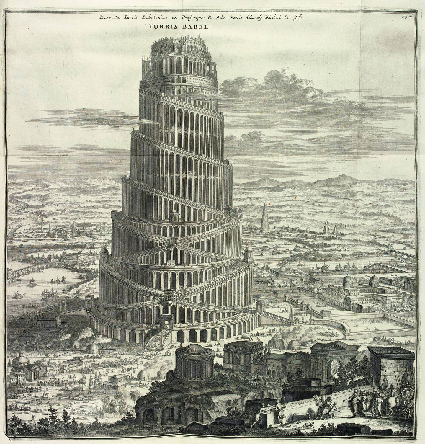 An image from the book Turris Babel (Tower of Babel, 1679), written by German Jesuit scholar and polymath Athanasius Kircher, with illustrations engraved by C. Decker, a German craftsman. The book is a historical study of the biblical story of the Tower of Babel. Kircher's main interest was understanding the history of language.  Image credit: Bodleian Libraries, University of Oxford