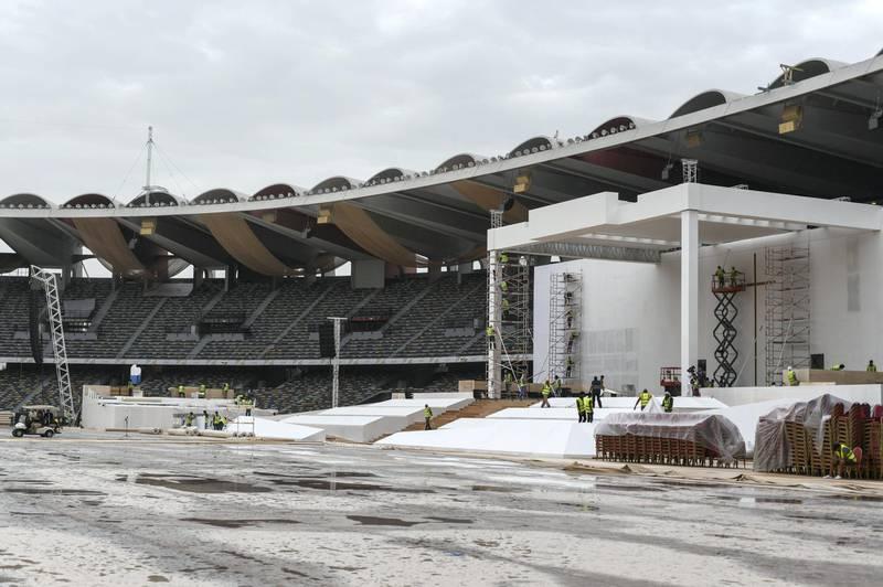 Abu Dhabi, United Arab Emirates - Preparations in full wing at Zayed Sports Stadium for the Papal mass on Tuesday February 5 in Abu Dhabi,  February 3, 2019. Khushnum Bhandari for The National