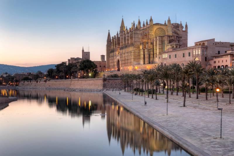 Cathedral La Seu, Parc de Mar, Palma de Mallorca, Majorca, Balearic Islands, Spain