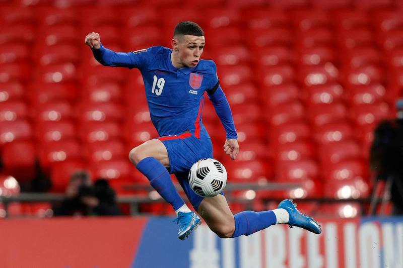 Englands's midfielder Phil Foden controls the ball during the FIFA World Cup Qatar 2022 qualification football match between England and San Marino at Wembley Stadium in London on March 25, 2021.   - NOT FOR MARKETING OR ADVERTISING USE / RESTRICTED TO EDITORIAL USE  / AFP / POOL / Adrian DENNIS / NOT FOR MARKETING OR ADVERTISING USE / RESTRICTED TO EDITORIAL USE