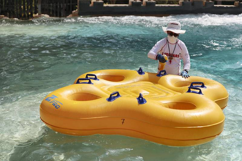 Dubai, United Arab Emirates - Reporter: N/A. News. Tourism. A lifeguard cleans on of the tubes. Wild Wadi opened on Friday to the public with strict Covid-19/Coronavirus safety measures. Sunday, July 12th, 2020. Dubai. Chris Whiteoak / The National