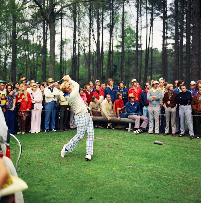 AUGUSTA, GA - APRIL 1972:  Masters Champion Jack Nicklaus watches his shot from the tee box in front of a large gallery during the 1972 Masters Tournament at Augusta National Golf Club on April 1972 in Augusta, Georgia. (Photo by Augusta National/Getty Images)