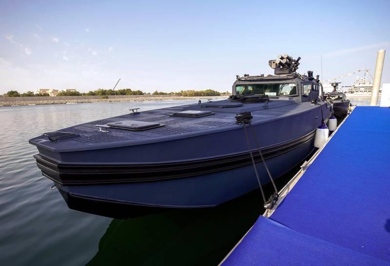 Abu Dhabi, United Arab Emirates, February 23, 2021.  Idex 2021 Day 3.Aksum Marine at NAVDEX.  Chaser speedboat.Victor Besa / The NationalSection:  NAReporter:
