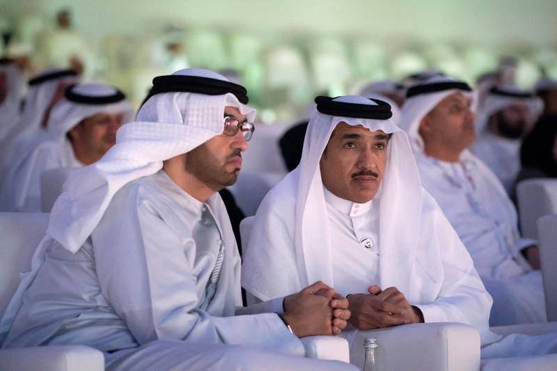 ABU DHABI, UNITED ARAB EMIRATES - March 21, 2019: HE Dr Sultan Ahmed Al Jaber, UAE Minister of State, Chairman of Masdar and CEO of ADNOC Group (L) and HE Ahmed Juma Al Zaabi, UAE Deputy Minister of Presidential Affairs (R) attend the closing ceremony of the Special Olympics World Games Abu Dhabi 2019, at Zayed Sports City.  ( Ryan Carter for the Ministry of Presidential Affairs ) ---