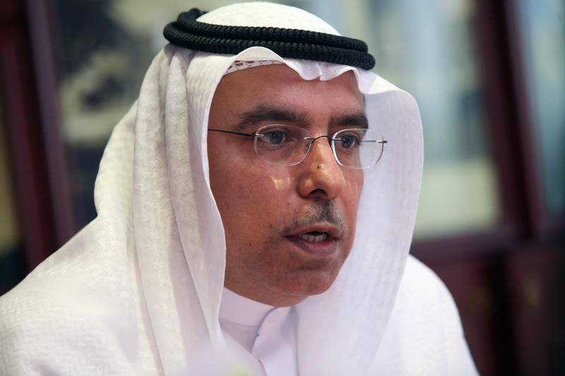 DUBAI, UNITED ARAB EMIRATES - November 24:  Khalid  Bin Kalban, Vice Chairman, Union Properties, speaking during a press conference held at the UP offices in Dubai on November 24, 2009.  (Randi Sokoloff / The National)  For Business story/Stock *** Local Caption ***  RS004-112409-UP.jpg