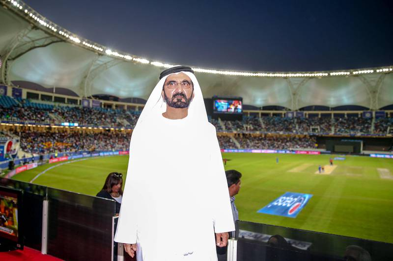The Government of Dubai Media Office – 30 April 2014: His Highness Sheikh Mohammed bin Rashid Al Maktoum witnesses part of the 2014 Indian Premier League (IPL) cricket match between Mumbai Indians and Sunrisers Hayderabad; the last match of the UAE leg of the season. (Courtesy Dubai Government Media Office)
