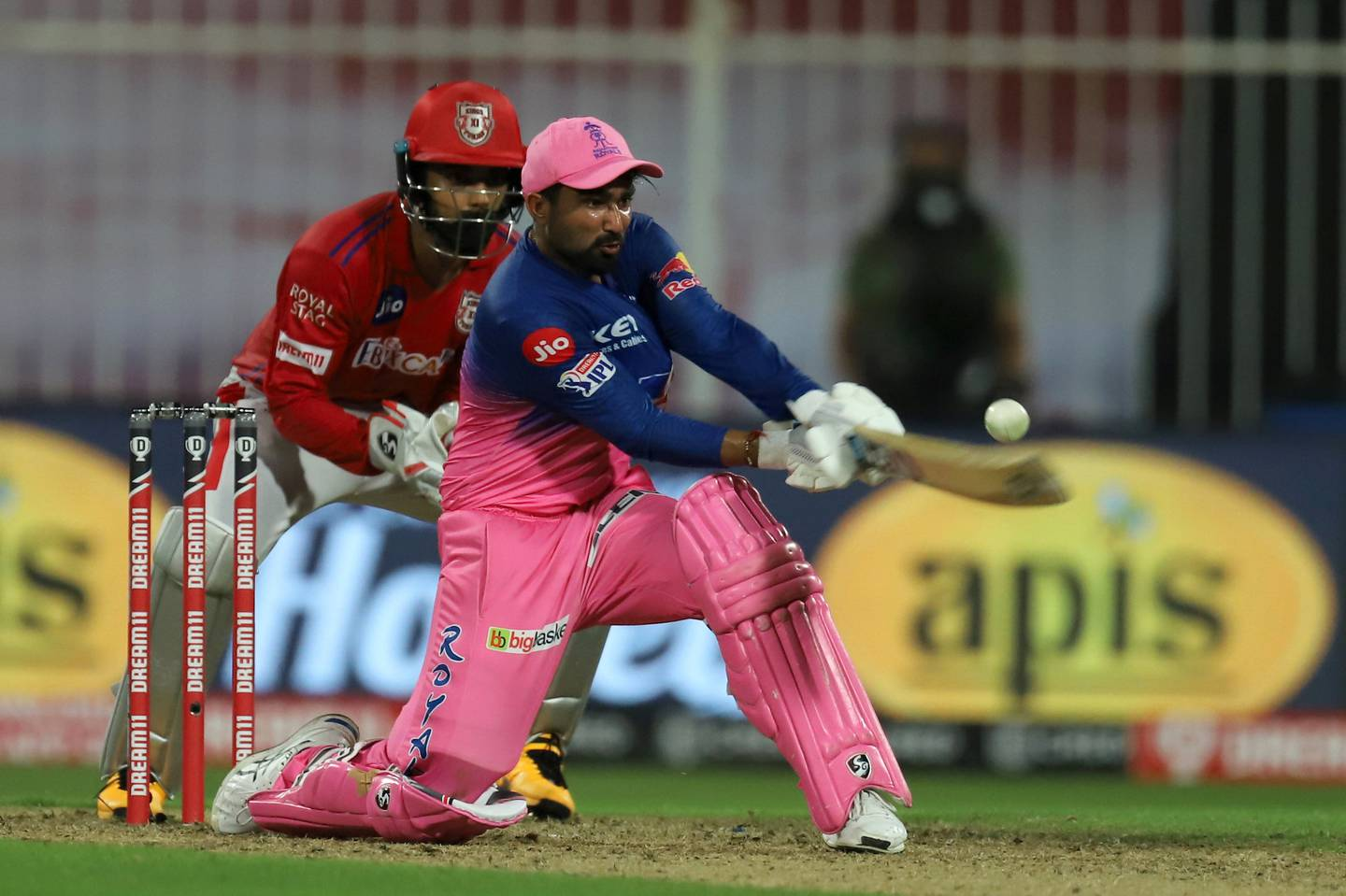 Rahul Tewatia of Rajasthan Royals  bats during match 9 season 13 of the Dream 11 Indian Premier League (IPL) between Rajasthan Royals and Kings XI Punjab held at the Sharjah Cricket Stadium, Sharjah in the United Arab Emirates on the 27th September 2020. Photo by: Deepak Malik  / Sportzpics for BCCI