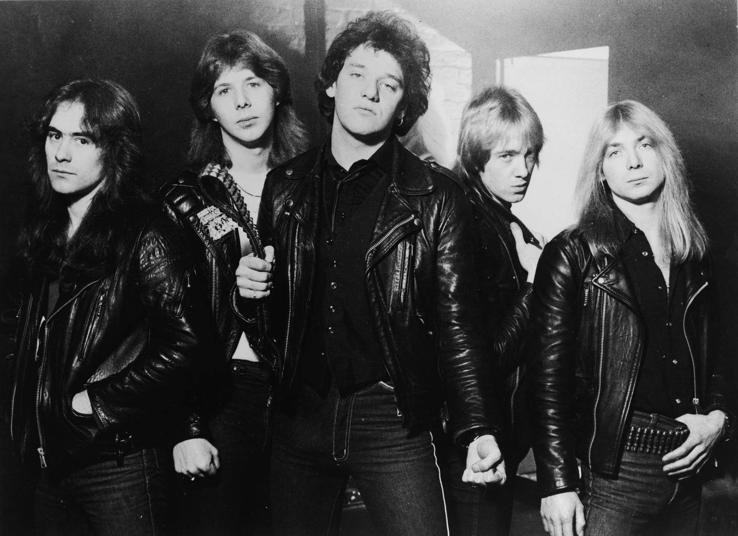 Promotional portrait of British heavy metal group, Iron Maiden, 1981: (L-R) Steve Harris, Clive Burr, Paul Di'Anno, Adrian Smith, and Dave Murray. (Photo by Robert Ellis/Hulton Archive/Getty Images)