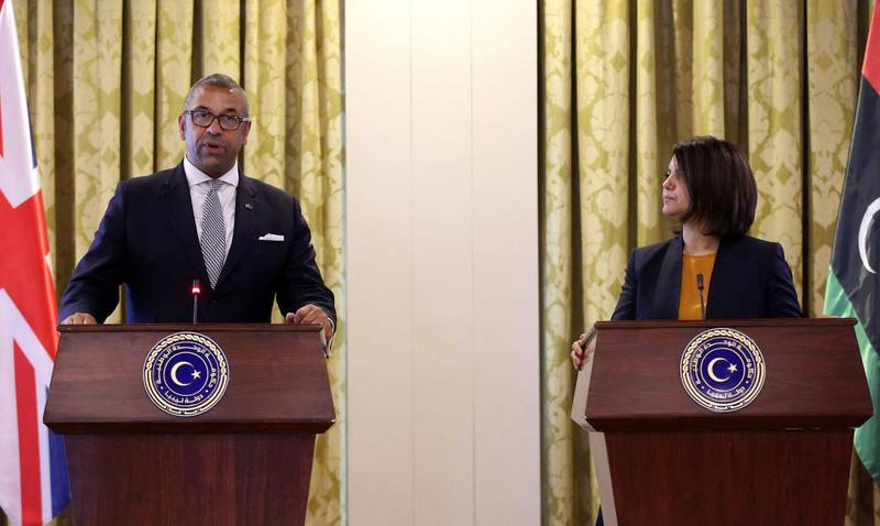 Libyan Minister of Foreign Affairs of the Government of National Unity, Najla al-Manqoush, holds a joint press conference with the British Minister of State for the Middle East and North Africa, James Cleverly, in the Libyan capital Tripoli on June 10, 2021.   / AFP / -