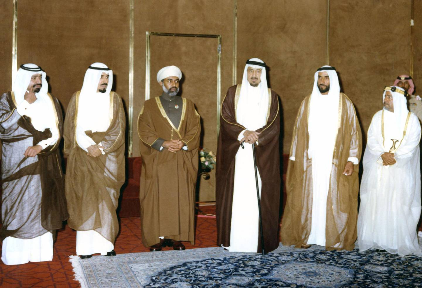 Sheikh Zayed Bin Sultan Al Nahyan with the Rulers of the GCC countries during the first Summit in Abu Dhabi, 1981  National Archives images supplied by the Ministry of Presidential Affairs to mark the 50th anniverary of Sheikh Zayed Bin Sultan Al Nahyan becaming the Ruler of Abu Dhabi. *** Local Caption ***  59.jpg