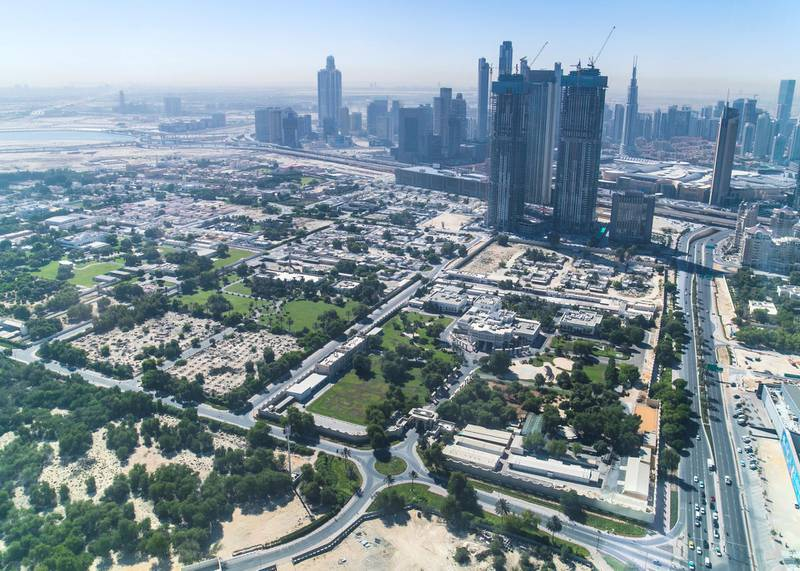 DUBAI, UNITED ARAB EMIRATES. 18 OCTOBER 2020. The view from the 50th floor at ICD Brookfield Place building on Al Mustaqbal Street.(Photo: Reem Mohammed/The National)Reporter:Section: