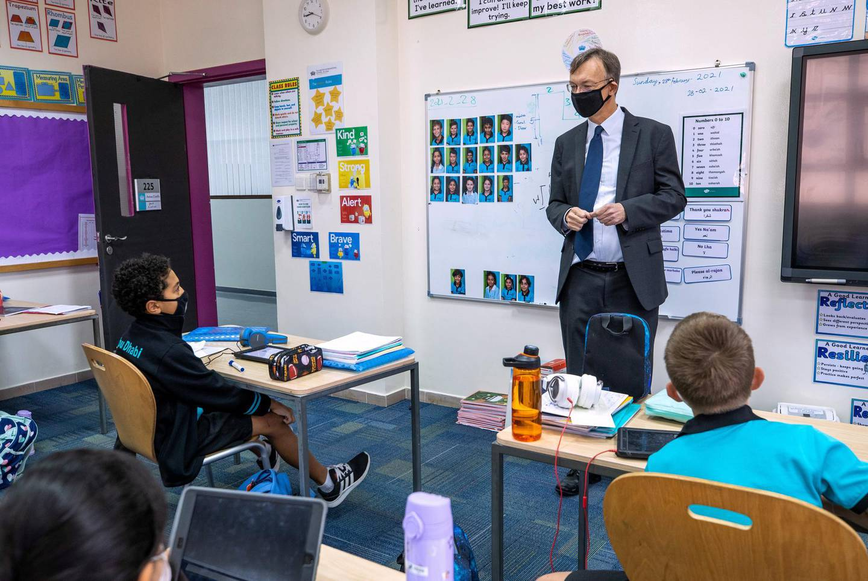 Abu Dhabi, United Arab Emirates, March 1, 2021.  Schools look back at one year of distance learning.  British International School Abu Dhabi.Patrick Horne, headmaster at BISAD.Victor Besa / The NationalSection:  NAReporter:  Anam Rizvi