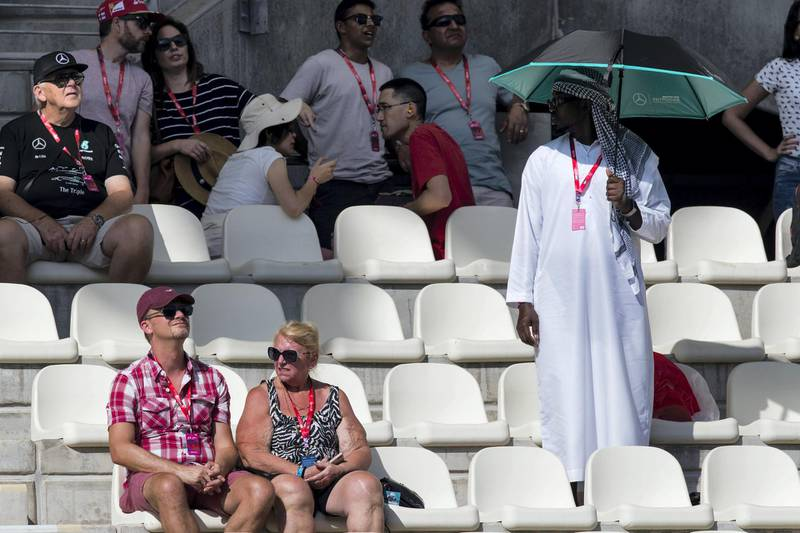Abu Dhabi, United Arab Emirates, November 24, 2017:    Fans take in the first practise session for the Abu Dhabi Formula One Grand Prix at Yas Marina Circuit in Abu Dhabi on November 24, 2017. Christopher Pike / The National  Reporter: Graham Caygill Section: Sport