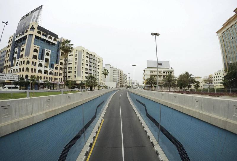 DUBAI, UNITED ARAB EMIRATES , April 11 – 2020 :-  View of the almost empty underpass near Deira Clock tower in Deira Dubai. Dubai is conducting 24 hours sterilisation programme across all areas and communities in the Emirate and told residents to stay at home. UAE government told residents to wear face mask and gloves all the times outside the home whether they are showing symptoms of Covid-19 or not. (Pawan Singh/The National) For News/Online/Instagram/Standalone