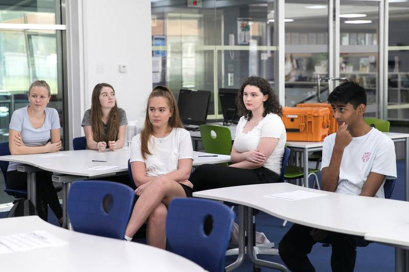 DUBAI, UNITED ARAB EMIRATES - SDEPTEMBER 2, 2018.   Evie Fleming, second from right, Year 5, in a team building class on the first day of school at Dubai British School.  (Photo by Reem Mohammed/The National)  Reporter: Ramola TalwarSection:  NA