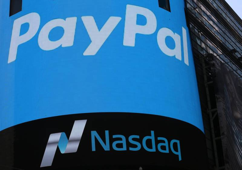 epa06487454 (FILE) - A PayPal logo on the side of the Nasdaq digital board in Times Square in New York, New York, USA, 20 July 2015 (re-issued 31 January 2018). PayPal is to release their 4th quarter 2017 results on 31 January 2018.  EPA/ANDREW GOMBERT