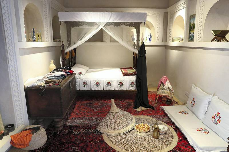 SHARJAH , UNITED ARAB EMIRATES , APRIL 24  – 2018 :- Traditional bedroom at the Bait Al Naboodah which was built around 1845 is one of the Sharjah's most stunning heritage buildings. Once the home of Obaid Al Naboodah , one of Sharjah's most successful pearl merchants, the grand two storey building has undergone extensive renovation to return it to its former glory in the heart of old Sharjah. ( Pawan Singh / The National ) For Arts & Life. Story by Melissa Gronlund
