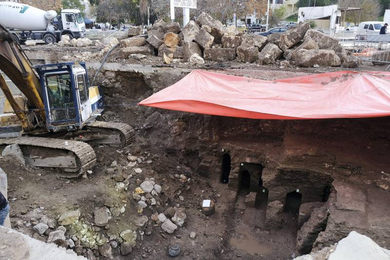 Municipal workers in downtown Amman, Jordan, dig up ancient Roman baths, Tuesday December 15, 2020. Amy McConaghy / The National
