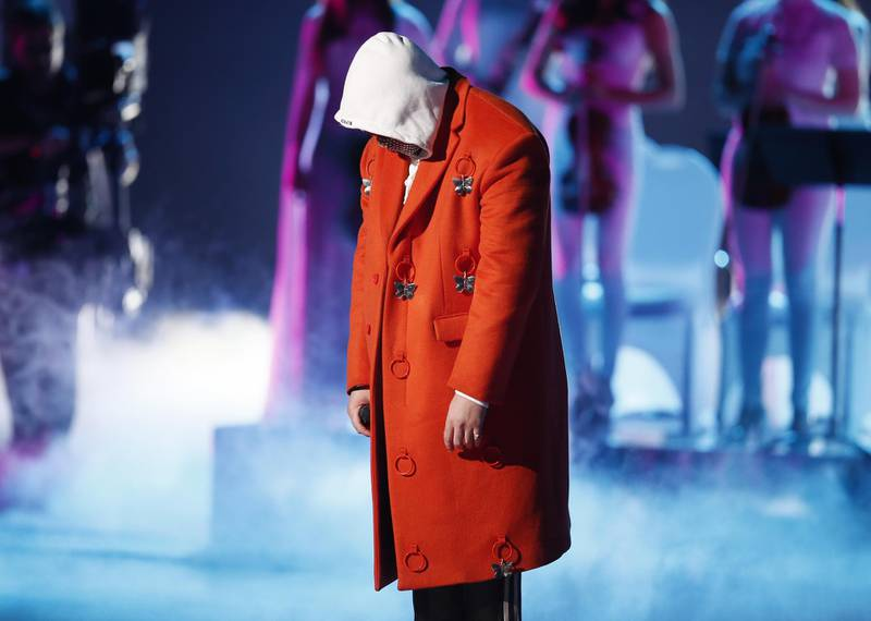 epa07998055 Bad Bunny performs during the 20th Annual Latin Grammy Awards  ceremony at the MGM Grand Garden Arena in Las Vegas, Nevada, USA, 14 November 2019. The Latin Grammys recognize artistic and/or technical achievement, not sales figures or chart positions, and the winners are determined by the votes of their peers - the qualified voting members of the Latin Recording Academy.  EPA-EFE/ETIENNE LAURENT