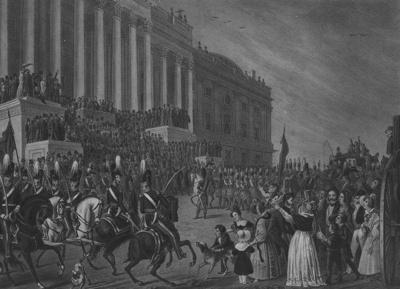 Lithograph of the Presidential inauguration of William Henry Harrison, in Washington, DC on the 4th of March 1841, Washington, DC, 1841. From the New York Public Library. (Photo by Smith Collection/Gado/Getty Images).
