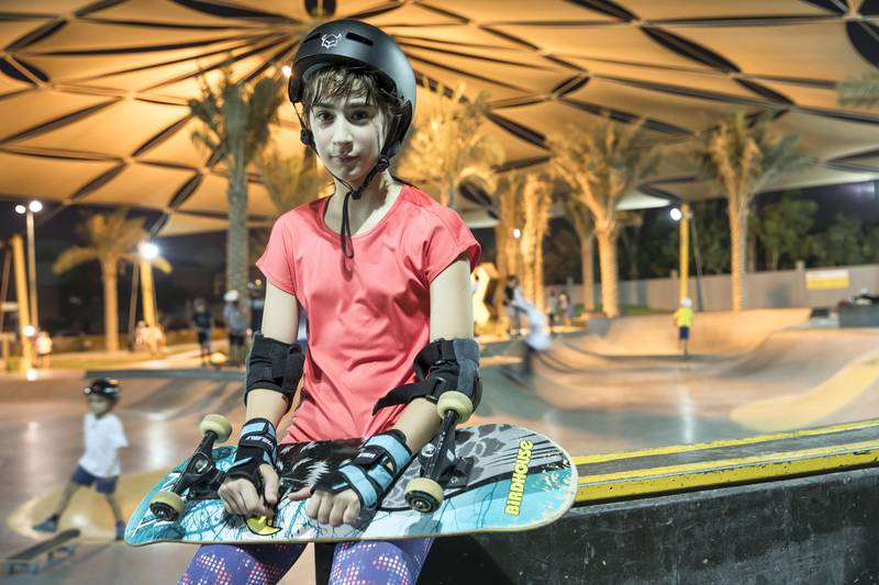 DUBAI, UNITED ARAB EMIRATES. 12 October 2017.  Skater girl article. A groth in girls taking up wheeled extreme sports has been noticed at the X Dubai Skate Park next to Kite Beach. Alize Alice (Turkey 11) with her skateboard. (Photo: Antonie Robertson/The National) Journalist: Nick Webster. Section: National.