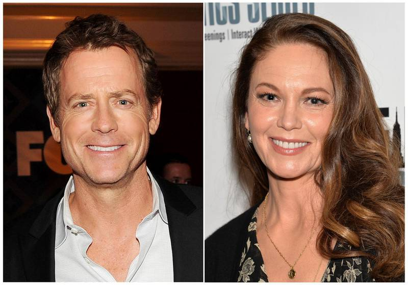 """This combination photo shows Greg Kinnear, left, and Diane Lane, who will star as siblings in the final season of """"House of Cards,"""" on Netflix. (AP Photo/Files)"""