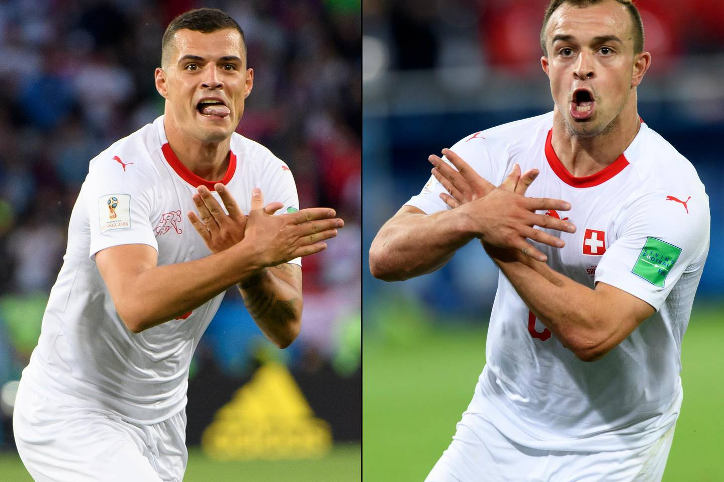 epa06832171 A combo of two pictures shows the celebration for the first goal of Switzerland's midfielder Granit Xhaka, (L), and the victory goal of Switzerland's midfielder Xherdan Shaqiri, (R), both making the eagle emblem of the Kosovo during the FIFA World Cup 2018 group E preliminary round soccer match between Switzerland and Serbia at the Arena Baltika Stadium, in Kaliningrad, Russia, Friday, June 22, 2018.    (RESTRICTIONS APPLY: Editorial Use Only, not used in association with any commercial entity - Images must not be used in any form of alert service or push service of any kind including via mobile alert services, downloads to mobile devices or MMS messaging - Images must appear as still images and must not emulate match action video footage - No alteration is made to, and no text or image is superimposed over, any published image which: (a) intentionally obscures or removes a sponsor identification image; or (b) adds or overlays the commercial identification of any third party which is not officially associated with the FIFA World Cup)  EPA/LAURENT GILLIERON   EDITORIAL USE ONLY  EDITORIAL USE ONLY