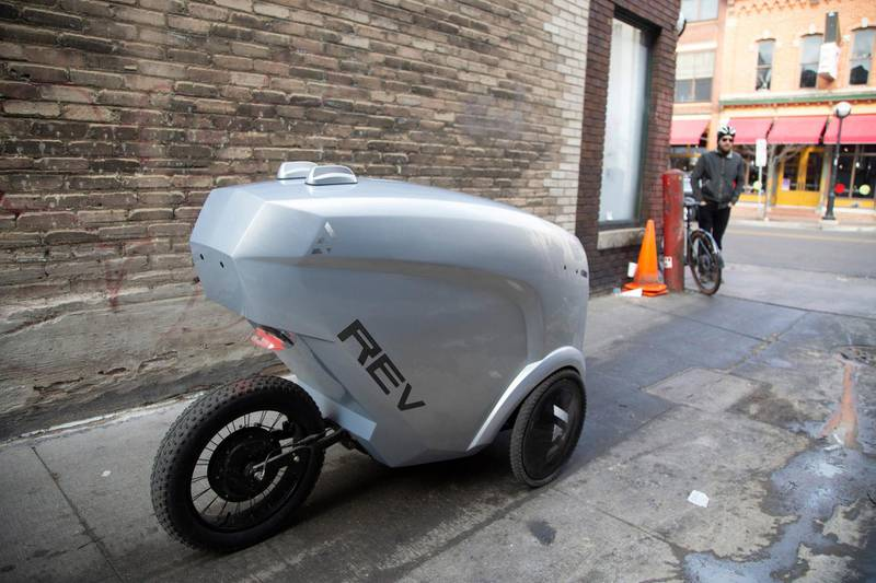 Refraction AI in Ann Arbor has developed an autonomous delivery robot. The first generation Rev1 is on a mission Wednesday, Jan. 15, 2020 to pick up and deliver sandwiches in downtown Ann Arbor. USA Today / Reuters