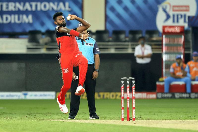 Isuru Udana of Royal Challengers Bangalore bowling during match 19 of season 13 of the Dream 11 Indian Premier League (IPL) between the Royal Challengers Bangalore and the  Delhi Capitals held at the Dubai International Cricket Stadium, Dubai in the United Arab Emirates on the 5th October 2020.  Photo by: Saikat Das  / Sportzpics for BCCI