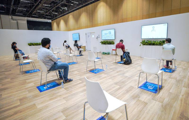 Abu Dhabi, United Arab Emirates, June 4, 2020.     Covid-19 positive residents at the waiting room at the new Covid-19 Prime Assessment Center at ADNEC.Victor Besa  / The NationalSection:  NAReporter:  Shireena Al Nowais