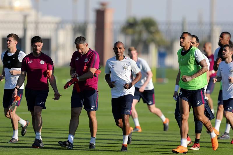 Abu Dhabi, United Arab Emirates - March 15th, 2018: Fernandinho of Manchester City during a training session in Abu Dhabi. Thursday, March 15th, 2018. Emirates Palace, Abu Dhabi. Chris Whiteoak / The National