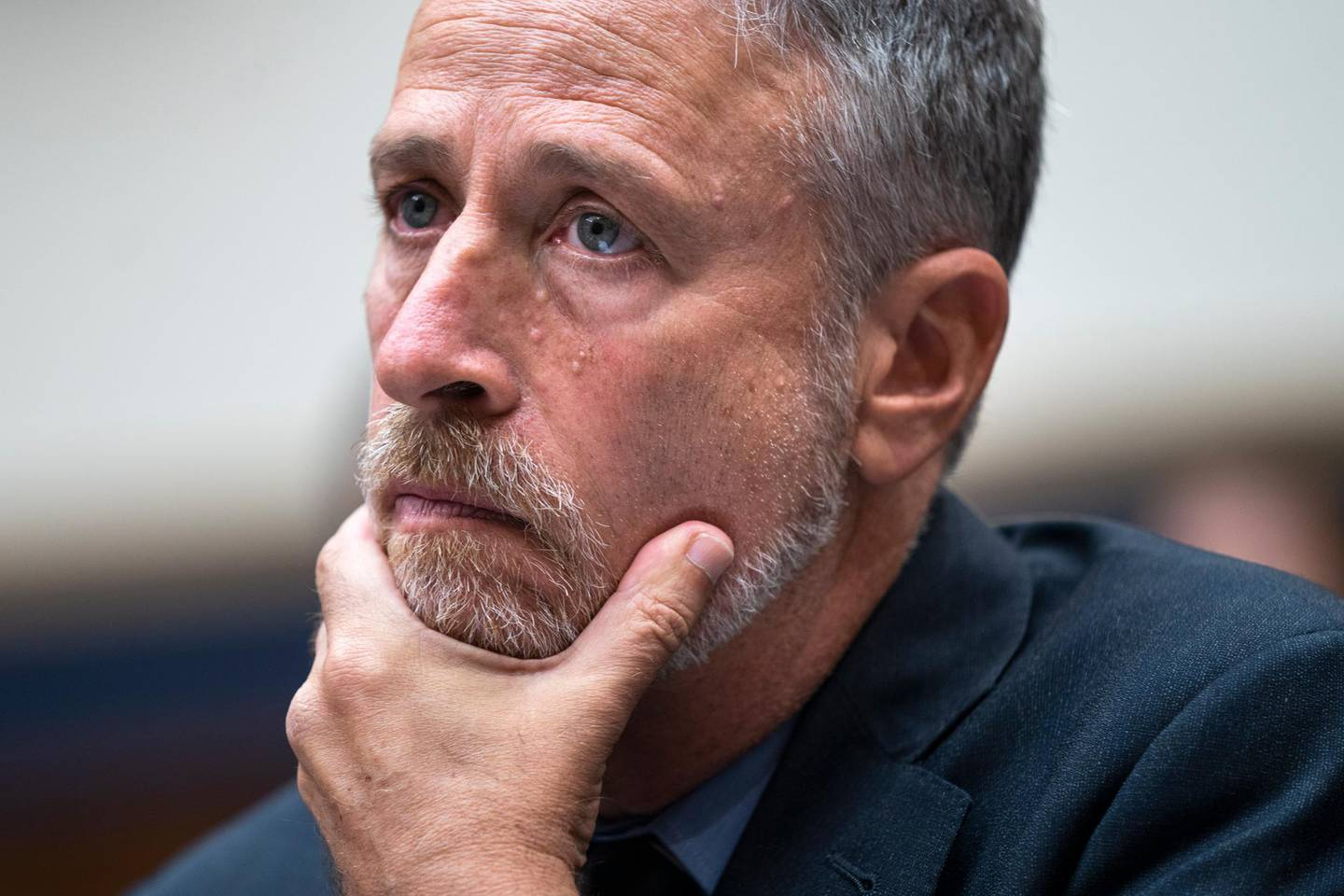 epa07641260 Jon Stewart, the former host of 'The Daily Show,' testifies before a House Judiciary Committee hearing called 'The Need to Reauthorize the September 11th Victim Compensation Fund' in the Rayburn House Office Building in Washington, DC, USA, 11 June 2019.  EPA/JIM LO SCALZO