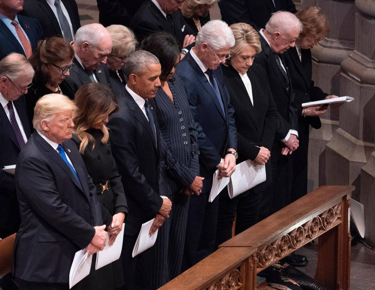 epa07210876 (L-R) US President Donald J. Trump, First Lady Melania Trump, Former US President Barack Obama, Former First Lady Michelle Obama, Former US President Bill Clinton, Former US Secretary of State Hillary Clinton, Former US President Jimmy Carter and Former First Lady Rosalyn Carter attend the state funeral service of former President George H.W. Bush at the National Cathedral, in Washington, DC, USA, 05 December 2018. George H. W. Bush, the 41st President of the United States (1989-1993), died in his Houston, Texas, USA, home surrounded by family and friends on 30 November 2018. The body will return to Houston for another funeral service before being transported by train to the George Bush Presidential Library and Museum for internment.  EPA/Chris Kleponis / POOL