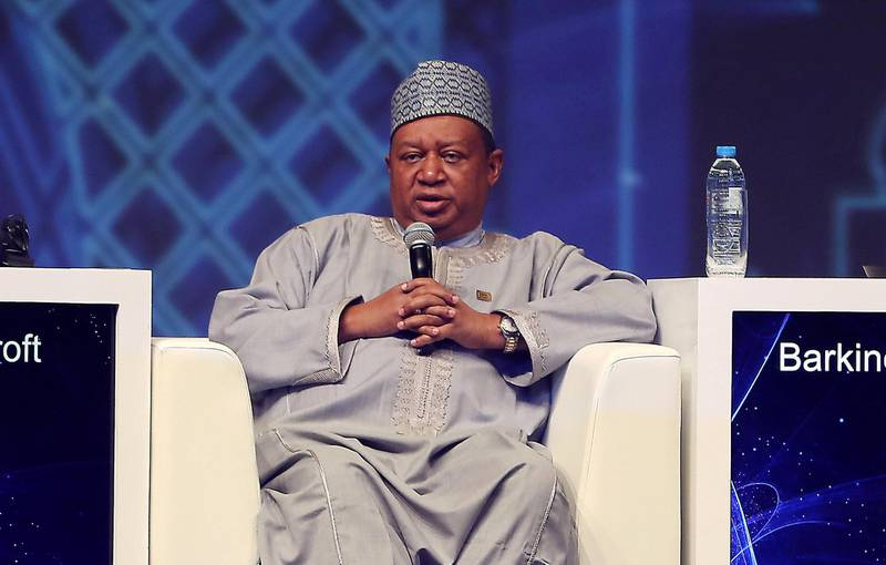 ABU DHABI ,  UNITED ARAB EMIRATES , SEPTEMBER 10 – 2019 :-  Mohammad Barkindo , Secretary General , OPEC speaking during the session 'The business outlook for oil' at the World Energy Congress held at ADNEC in Abu Dhabi. ( Pawan Singh / The National ) For Business. Story by Jennifer