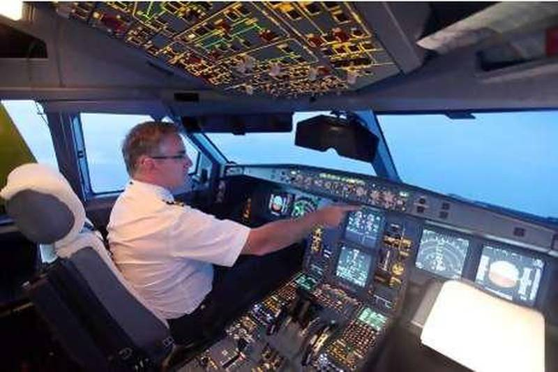 August 9, 2010/ Toulouse France / Etihad Captain Francois Lacombe pilots Etihad's news Airbus A330-200 Freighter from the Airbus facility in Toulouse France to Abu Dhabi August 9, 2010.  (Sammy Dallal / The National)