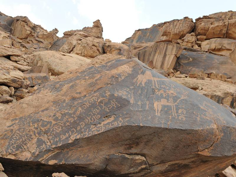 Several Thamudic inscriptions and camels are depicted on a rock lying at the base of Jabal Umm Sinman, Jubbah.