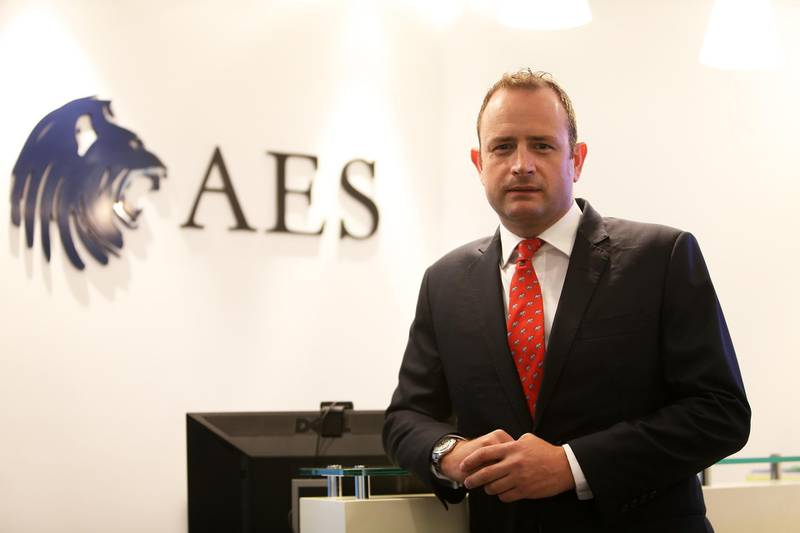 DUBAI , UNITED ARAB EMIRATES Ð April 21 , 2015 : Sam Instone , Chief Executive Officer of AES International at his office in Emaar Square in Dubai. ( Pawan Singh / The National ) For Business. Story by Mahmoud Kassem *** Local Caption ***  PS2104- SAM INSTONE09.jpg
