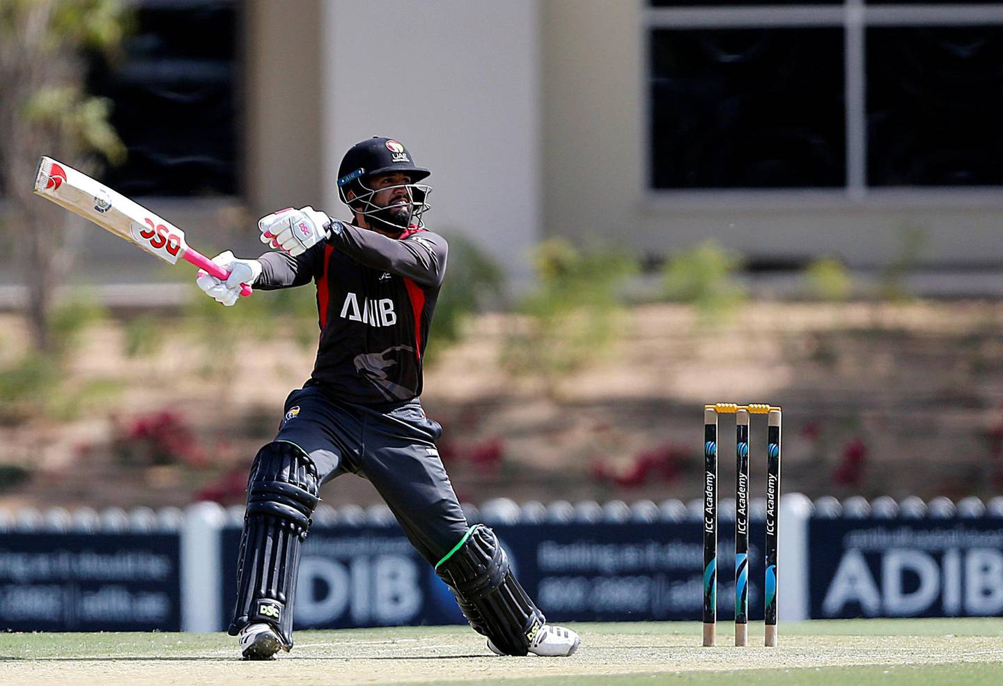 Dubai, March, 16, 2019: Rohan Musthafa of UAE in action during their match against USA in the T20 match at the ICC Academy in Dubai. Satish Kumar/ For the National / Story by Paul Radley