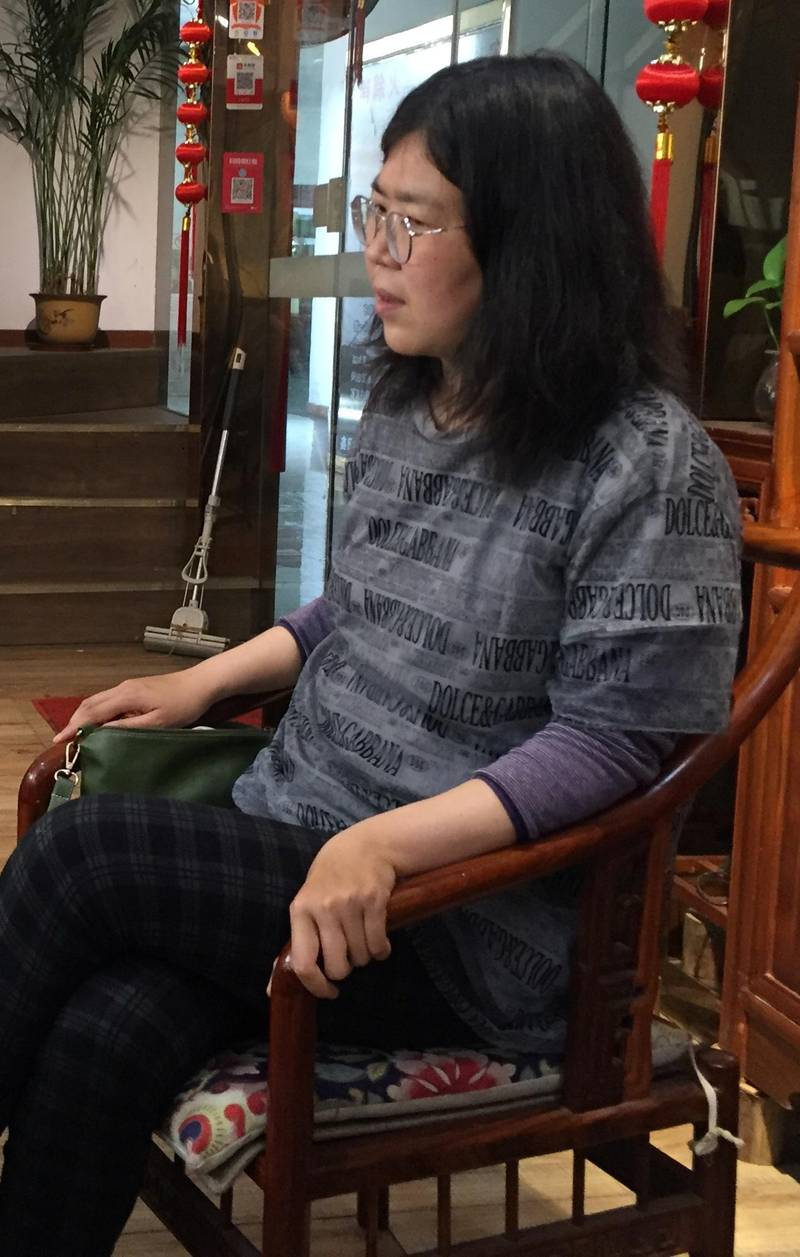 Citizen-journalist Zhang Zhan is seen in Wuhan, Hubei province, China in this handout picture taken on May 3, 2020.  Handout via REUTERS  ATTENTION EDITORS - THIS IMAGE WAS PROVIDED BY A THIRD PARTY. NO RESALES. NO ARCHIVES.