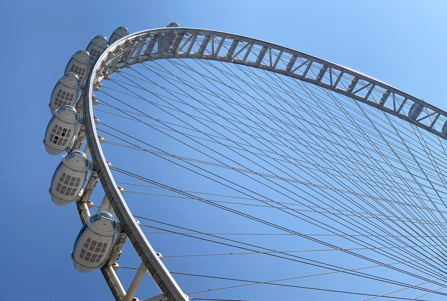 DUBAI, UNITED ARAB EMIRATES , Sept 27– 2020 :- More passenger capsules installed on the Ain Dubai observation wheel at the Bluewaters Island in Dubai.  (Pawan Singh / The National) For News/standalone/Online/Instagram/Big Picture