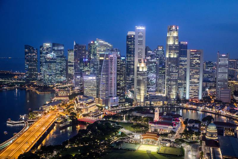 SINGAPORE - JUNE 08:  The Singapore skyline is seen at sunset on June 8, 2018 in Singapore. The historic meeting between U.S. President Donald Trump and North Korean leader Kim Jong-un has been scheduled in Singapore for June 12 as a small circle of experts have already been involved in talks towards the landmark summit in the city-state.  (Photo by Chris McGrath/Getty Images)