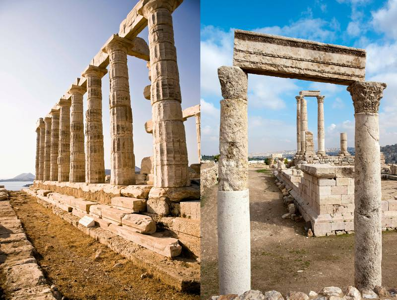LEFT: Temple of Poseidon in Athens, GreeceRIGHT: Amman, 'Amman, Jordan, Middle East.Getty Images