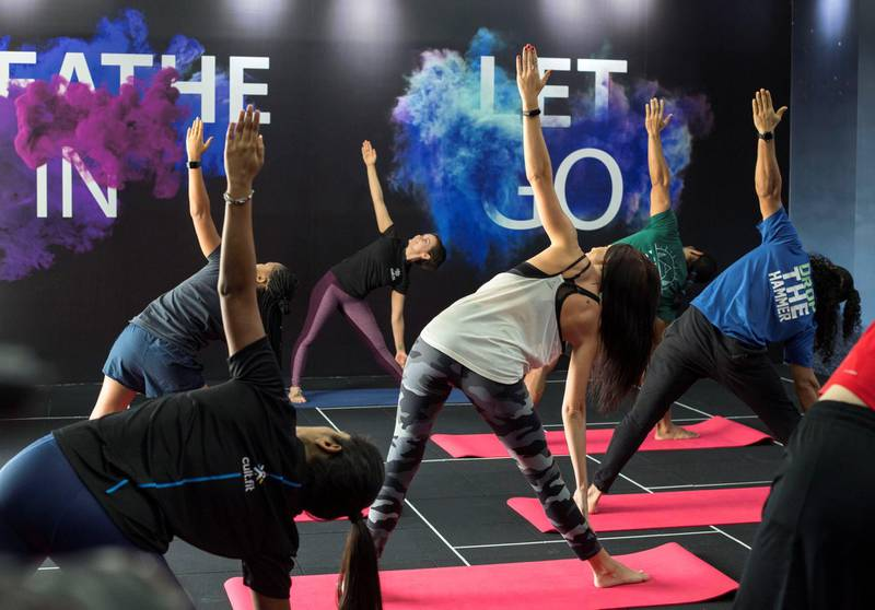 Dubai UNITED ARAB EMIRATES - Members of the cult.fit fitness centre using the facilities of the gym in Dubai at Palm Strip Mall.  Ruel Pableo for The National