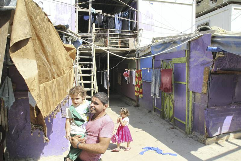 """""""Temporary"""" housing in Nahr Al Bared refugee camp that is now five years old. Hundreds of families still occupy the temporary housing while thousands are waiting to return 10 years after the camp was completely destroyed by fighting between the Lebanese military and militants using the camp as a hideout. Sept 1, 2017."""