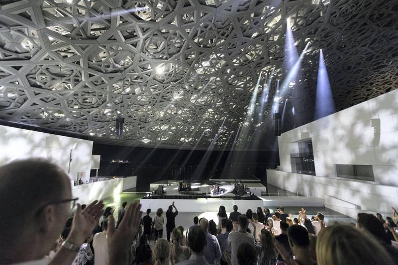 Abu Dhabi, United Arab Emirates, November 11, 2017:    French artist M performs during the opening day at the Louvre Abu Dhabi on Saadiyat Island in Abu Dhabi on November 11, 2017. Christopher Pike / The NationalReporter: James Langton, John DennehySection: News