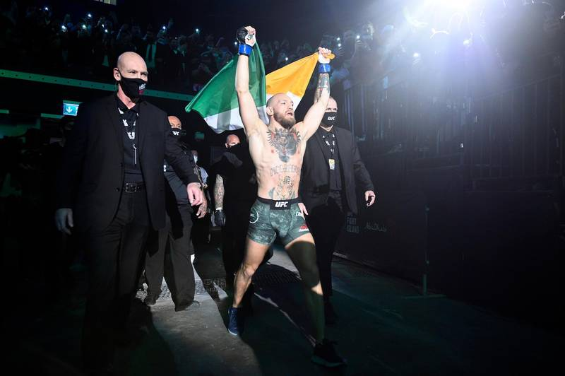 ABU DHABI, UNITED ARAB EMIRATES - JANUARY 23: Conor McGregor of Ireland prepares to fight Dustin Poirier in a lightweight fight during the UFC 257 event inside Etihad Arena on UFC Fight Island on January 23, 2021 in Abu Dhabi, United Arab Emirates. (Photo by Chris Unger/Zuffa LLC)
