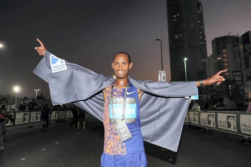 Abu Dhabi, United Arab Emirates - December 06, 2019: Winner of the 10K Teresa Nyakola Gela in the ADNOC Abu Dhabi marathon 2019. Friday, December 6th, 2019. Abu Dhabi. Chris Whiteoak / The National