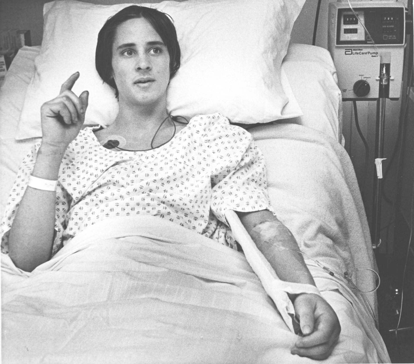 This is Jan. 1982 photo of lost ice climber Hugh Herr in the Littleton, N.H., hospital after spending four days lost on Mount Washington. Twenty years later Herr recalls his ordeal and the death of Albert Dow who died in an avalanche looking for him and his companion Jeff Batzer. (AP Photo/Jim Cole)