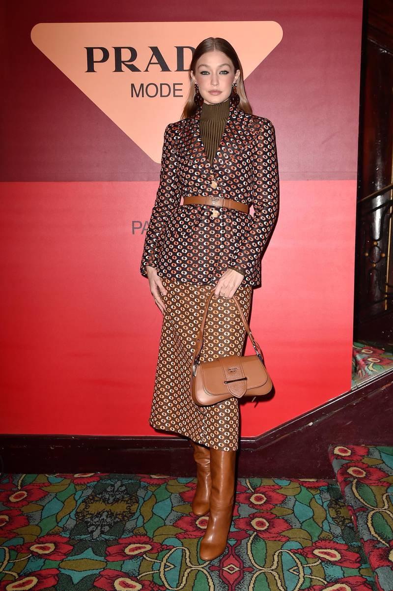 PARIS, FRANCE - JANUARY 19: Gigi Hadid attends the dinner co-hosted by Prada and Vogue Paris on January 19, 2020 in Paris, France. (Photo by Pietro S. D'Aprano/Getty Images for Prada)