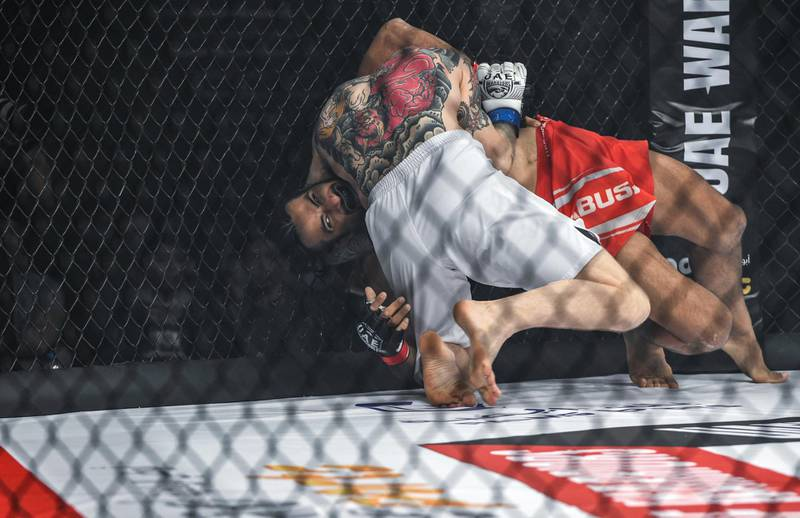 Abu Dhabi, United Arab Emirates - Ahmed Labban, from Lebanon fights against Juho Valamaa, from Finland in the welter weight for UAE Warriors Fighting Championship at Mubadala Arena, Zayed Sports City. Khushnum Bhandari for The National
